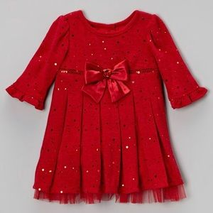 Youngland Red Sequin Knit Fit & Flare Dress, 4T